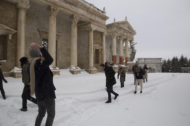 Playing snowballs at ROMAN SET